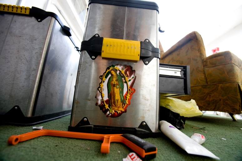 The Virgen of Guadalupe decorates a toolbox at a production studio in Monterrey, Mexico.