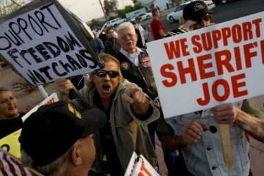 A man supports Sheriff Joe Arpaio and the continued service of the MCSO as law enforcement in the small community of Guadalupe, neighboring Phoenix, Ariz.