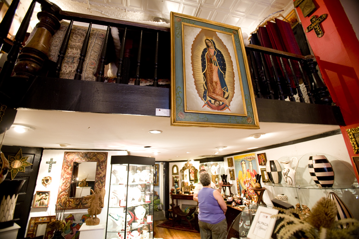 A Virgen of Guadalupe painting sits for sale inside a gallery in Washington D.C.