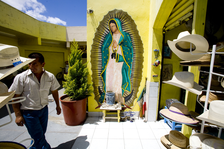 A virgin decorates a store in Tijuana, Mexico.