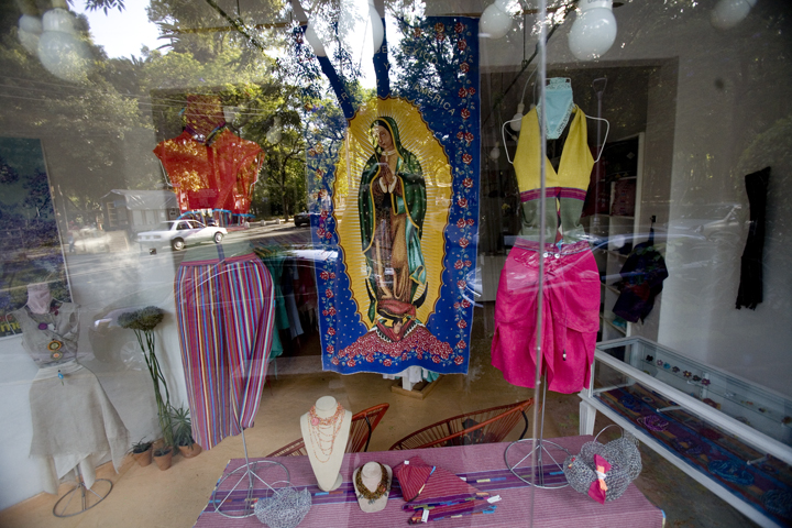 The Virgen of Guadalupe decorates a trendy store in Condesa, Mexico City.