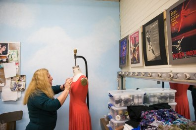 TEMPE - April 12, 2016 - ASU Now - Costume Shop - Jacqueline Benard makes some adjustments to a dancer's dress inside the dance costume shop in the PEBE building on Tuesday afternoon April 12, 2016. Photo by Deanna Dent/ASU Now