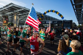 TEMPE - April 23, 2016 - ASU Now - Runners take off at the start of the 2016 Pat's Run in Tempe early Saturday morning on April 23, 2016. Photo by Deanna Dent/ASU Now