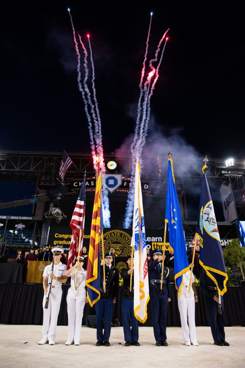 Phoenix - May 9, 2016 - ASU Now - Graduate commencement - The ROTC Color Guard presents the colors during undergraduate commencement on Monday, May 9, 2016, at Chase Field in Phoenix. Photo by Deanna Dent/ASU Now