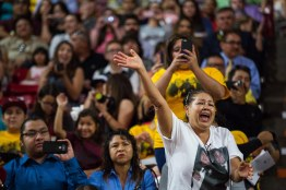 dTempe - May 4, 2016 - ASU Now - Hispanic Convocation - Family and friends cheer for the graduates during the Hispanic Convocation at Wells Fargo Arena on Saturday, May 14, 2016. Photo by Deanna Dent/ASU Now