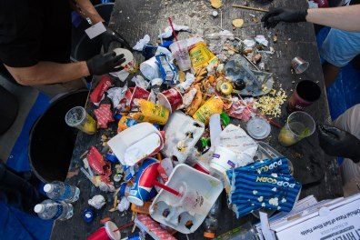 ASUNow - Sustainable Spring Training - 03/14/2018 - Scottsdale A table full of waste sits to be sorted for the waste audit following the day's spring training game between the Diamondbacks and the Cincinnati Reds Wednesday afternoon March 14th, 2018 at Salt River Fields in Scottsdale, Ariz. The School of Sustainability class ASU SOS 498/594 led by Colin Tretreault is working on a waste audit to create a zero waste plan for Salt River Fields. Photo by Deanna Dent/ASUNow
