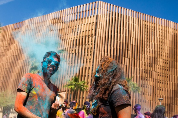 ASUNow - Indian Students Association Holi - 3/17/2018 Students celebrate Holi at Palo Verde Beach on Tempe campus during an event hosted by the Indian Student's Association Saturday afternoon on March 17th, 2018. Photo by Deanna Dent/ASUNow