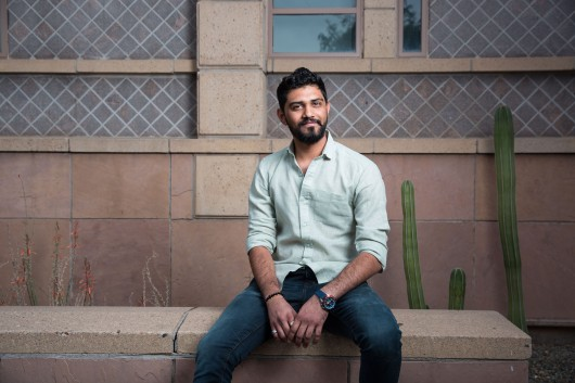 ASUNow - Spring 2018 Graduate Profiles - 4/16/2018 - Tempe, Ariz. Management of Technology graduate student Jay Patel, who is also vice president of professional development for the GPSA, poses for a portrait outside the ASU Design School on the Tempe campus Monday afternoon April 16th, 2018. Photo by Deanna Dent/ASUNow