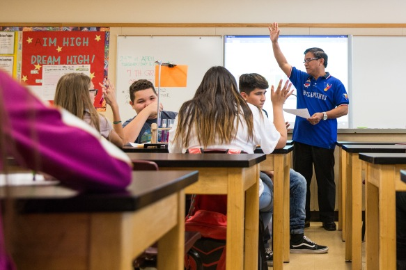 NYTimes Foreign Teachers story - Glendale, Ariz. - 04/24/2018 Donato Soberano asks students their results on their acid/base lab during his 7th grade science class Tuesday afternoon at Sunset Ridge Elementary School in Glendale, Ariz. Soberano has been teaching at the Glendale school for two years and also coaches the soccer team and helps lead the district's robotics team. Deanna Dent/For The New York Times