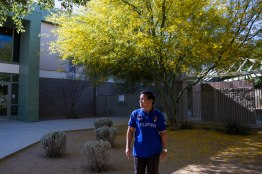 NYTimes Foreign Teachers story - Glendale, Ariz. - 04/24/2018 Donato Soberano poses for a portrait outside his school following his 7th grade science class Tuesday afternoon at Sunset Ridge Elementary School in Glendale, Ariz. Soberano has been teaching at the Glendale school for two years and also coaches the soccer team and helps lead the district's robotics team. Deanna Dent/For The New York Times