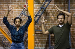 ASU Now - Latinx Dance in the Desert - 04/24/2018 - Grant Street Studios Raji Ganesan, left, and dance performance and psychology junior Carlos Solano, right, during rehearsal at Grant Street Studios in Phoenix, Ariz. on Tuesday afternoon April 24th, 2018. The group will perform during Dance in the Desert, an event bringing together Latinx dancemakers, arts administrators and scholars from around the country to Phoenix, Ariz. Photo by Deanna Dent/ASUNow