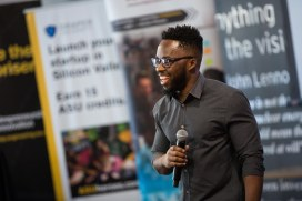 ASU Now - Entrepenership Demo Day - 04/27/2018 - Skysong ASU alumni Dornubari Vizor gives insights to his business building during the Demo Days at Skysong on Friday in Scottsdale, Ariz. on April 27th, 2018. Photo by Deanna Dent/ASUNow