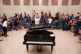 ASUNow - Barrett Choir - 4/12/2018 - ASU Gammage during the Barrett Choir rehearsal at ASU Gammage on Thursday evening on April 12th, 2018. Photo by Deanna Dent/ASUNow